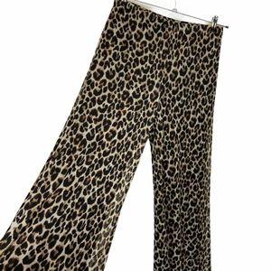 Nina Leonard Animal Print Med Mesh Wide Leg Pant